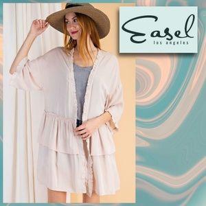 "Easel's ""Perfect Cover"" Ruffle Sleeve Silky Kimono"